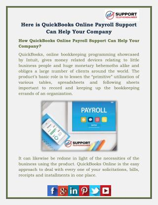 Here is QuickBooks Online Payroll Support Can Help Your Company