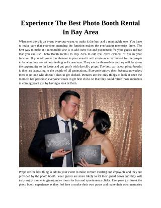 Experience The Best Photo Booth Rental In Bay Area