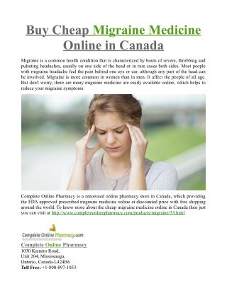 Buy Cheap Migraine Medicine Online in Canada