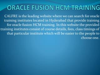 Oracle Fusion HCM Training in Hyderabad