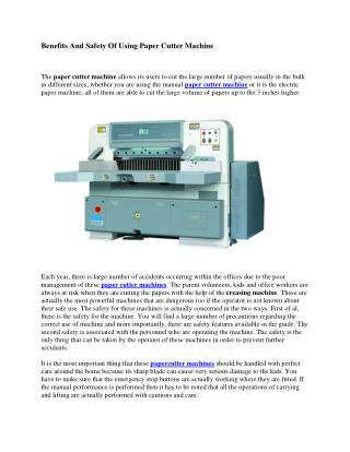 Benefits And Safety Of Using Paper Cutter Machine