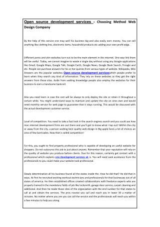 Open source development services - Choosing Method Web Design Company