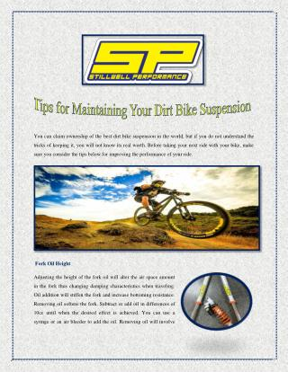 Tips for Maintaining Your Dirt Bike Suspension