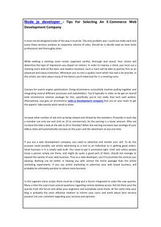 Node js developer - Tips For Selecting An E-Commerce Web Development Company