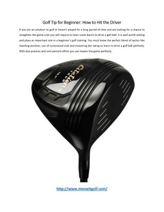 Golf Tip for Beginner: How to Hit the Driver