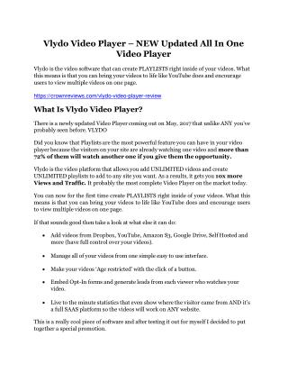 Vlydo Video Player review - Vlydo Video Player sneak peek features