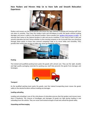 How Packers and Movers Help Us to Have Safe and Smooth Relocation Experience