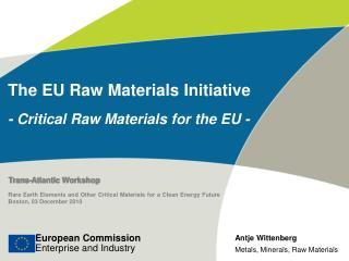 The EU Raw Materials Initiative - Critical Raw Materials for the EU -