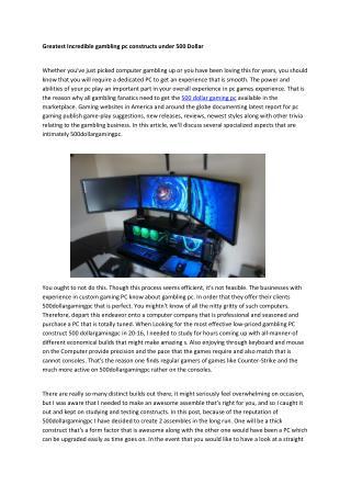 500 Gaming PC