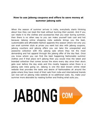 How to use jabong coupons and offers to save money at summer jabong sale