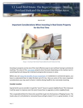 Important Considerations When Investing in Real Estate Property for the First Time
