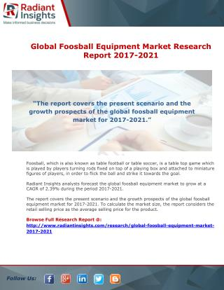 Global Foosball Equipment Market Research Report 2017-2021