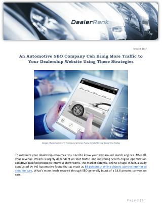 An Automotive SEO Company Can Bring More Traffic to Your Dealership Website Using These Strategies