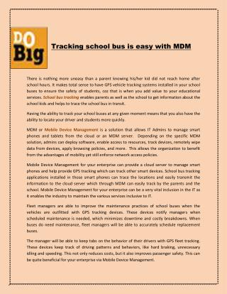 Tracking school bus is easy with MDM