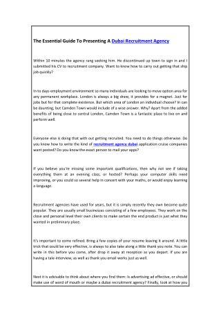 The Essential Guide To Presenting A Dubai Recruitment Agency