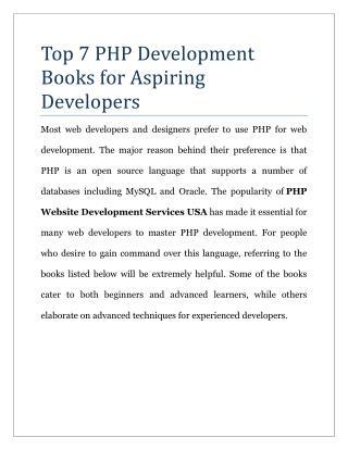 Top 7 PHP Development Books for Aspiring Developers