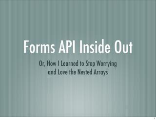 Form API Intro