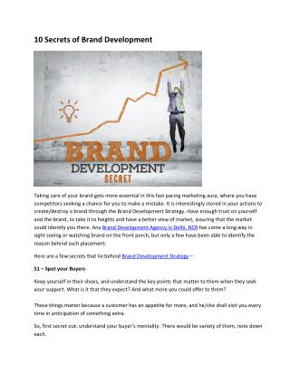 10 Secrets of Brand Development Taking