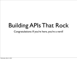 Building Apis That Rock