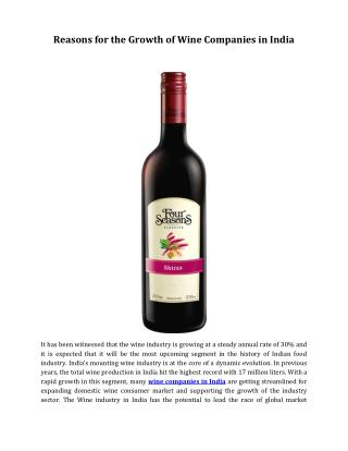 Reasons for the Growth of Wine Companies in India