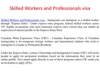 Skilled Workers and Professionals visa