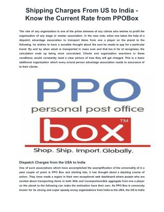 Shipping Charges From US to India - Know the Current Rate from PPOBox