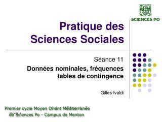 Pratique des Sciences Sociales