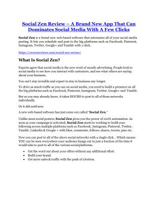 Social Zen REVIEW & Social Zen (SECRET) Bonuses
