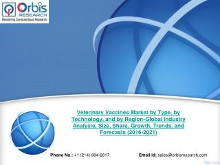 Global Veterinary Vaccines Market Is Anticipated To Reach $8,871 million By 2021