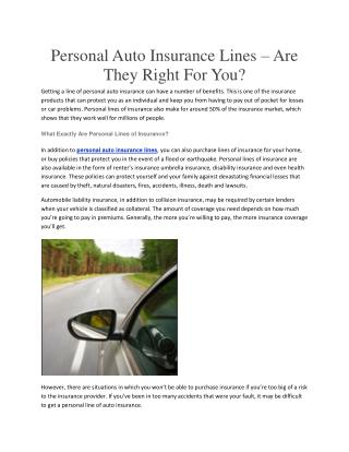 Personal Auto Insurance Lines – Are They Right For You?