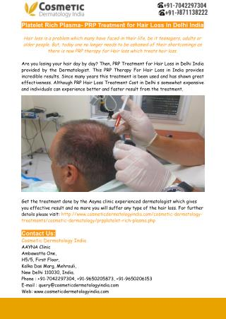Platelet Rich Plasma- PRP Treatment for Hair Loss In Delhi India