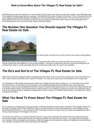 Wish to Know More About The Villages FL Real Estate for Sale?