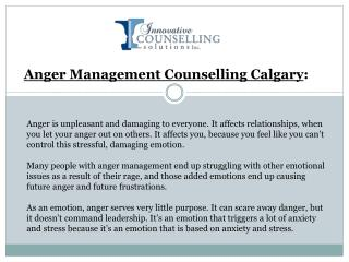 Anger Management Counselling Calgary