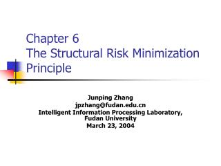 Chapter 6  The Structural Risk Minimization Principle