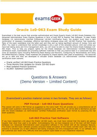 1z0-063 Exam Dumps -  Oracle Database Exam Questions