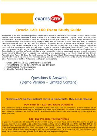 Latest 1Z0-160 Oracle Database Cloud Administrator Certified Professional Exam Dumps