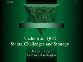 Nuclei from QCD Status, Challenges and Strategy
