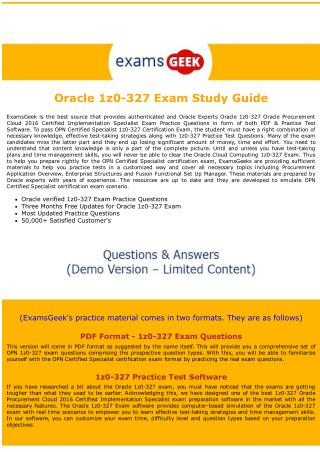 1Z0-327 Oracle Cloud computing Exam Dumps