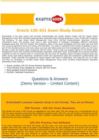 1Z0-331 Oracle Cloud computing Exam Dumps