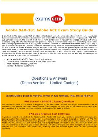 9A0-381 ACE Dumps -  Adobe Analytics Business Practitioner Exam Dumps