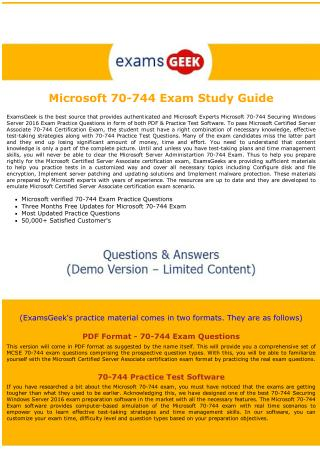 Latest MCSA Dumps  - 70-744 Microsoft Certified Solutions Associate Exam Questions