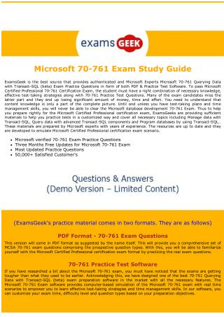 MCSA Dumps  - 70-761 Microsoft Certified Professional Exam Questions