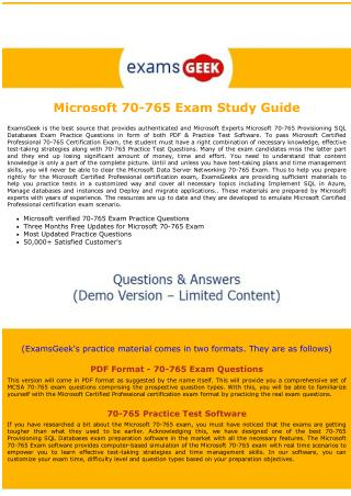 Latest MCSA Dumps  - 70-765 Microsoft Certified Professional Exam Questions