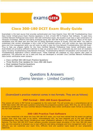 300-180 Cisco Exam Dumps - Troubleshooting Cisco Data Center Infrastructure exam