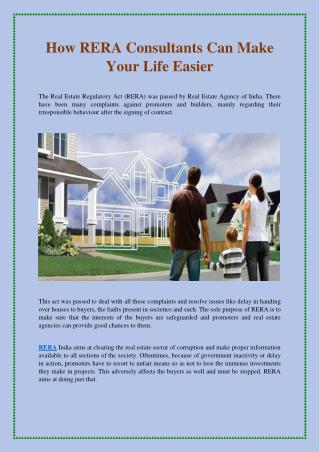 How RERA Consultants Can Make Your Life Easier