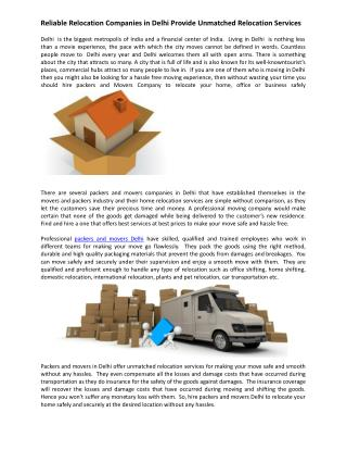 Reliable Relocation Companies in Delhi Provide Unmatched Relocation Services