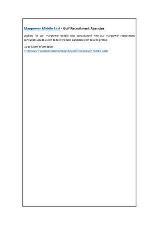 Manpower Middle East - Gulf Recruitment Agencies