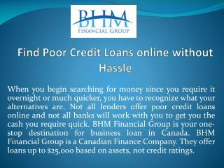 Find Poor Credit Loans online without Hassle