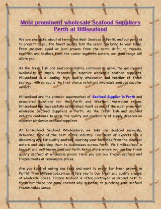 Most prominent wholesale Seafood Suppliers Perth at Hillseafood