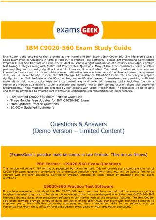 C9020-560 IBM Storage Administration Exam Dumps
